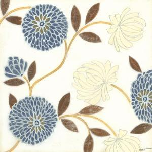 Blue and Cream Flowers on Silk II by Norman Wyatt Jr^