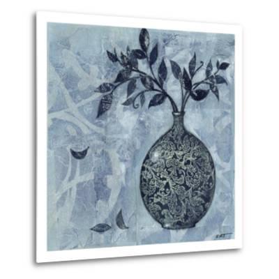 Ornate Vase with Indigo Leaves I
