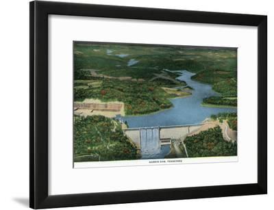 Norris, Tennessee - Aerial View of Norris Dam and Lake, c.1944-Lantern Press-Framed Art Print