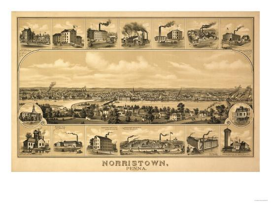 Norristown, Pennsylvania - Panoramic Map-Lantern Press-Art Print