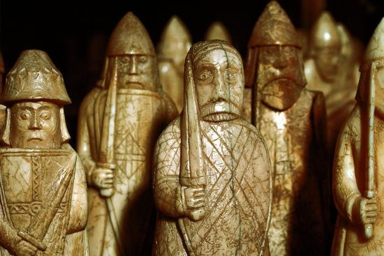 Norse chessmen, from a Viking hoard, Isle of Lewis, Scotland. Artist: Unknown-Unknown-Giclee Print