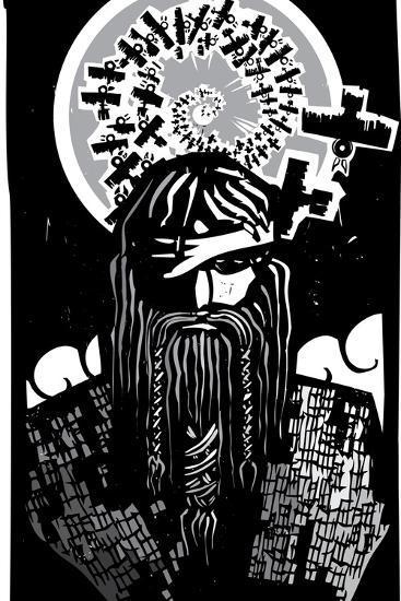 Norse God Odin with Spiral Crows-JeffreyThompson-Art Print