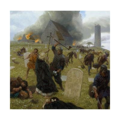 Norse Marauders Wreak Mayhem at Clonmacnoise, Ireland-Tom Lovell-Giclee Print