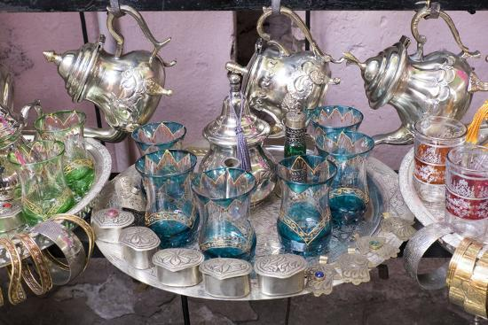 North Africa, Morocco, Marrakech. Traditional Moroccan mint tea glasses and tea pots.-Emily Wilson-Premium Photographic Print