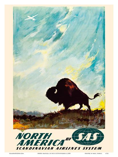 North America - by SAS Scandinavian Airlines System - American Bison (Buffalo)-Otto Nielsen-Art Print