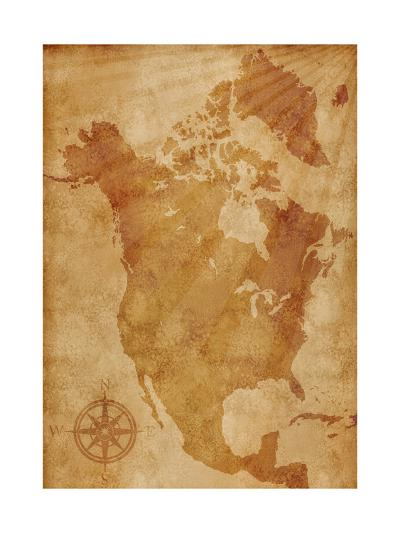 North America Map Illustration- alehnia-Art Print