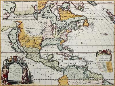 North America Old Map. Created By Louis Hennepin, Published In Amsterdam, 1698-marzolino-Art Print