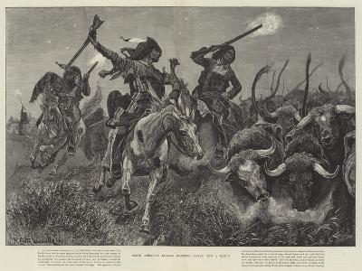 North American Indians Running Cattle into a Ranch-Richard Caton Woodville II-Giclee Print