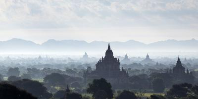North and South Guni Temples Pagodas and Stupas in Early Morning Mist at Sunrise-Stephen Studd-Photographic Print