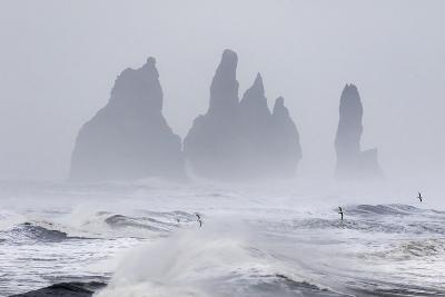 North Atlantic Coast During a Winter Storm with Heavy Gales. Reynisdrangar Sea Stacks-Martin Zwick-Photographic Print