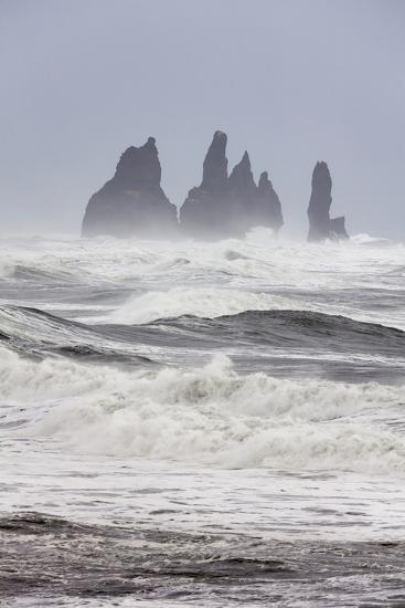 North Atlantic Coast During a Winter Storm with Heavy Gales. Reynisdrangar Sea Stacks-Martin Zwick-Photographic Print