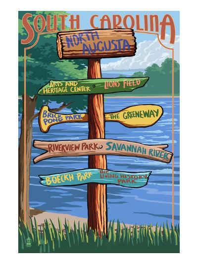 North Augusta, South Carolina - Sign Destinations-Lantern Press-Art Print