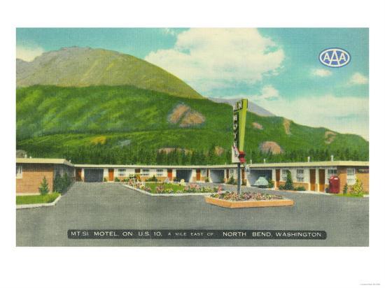 North Bend, Washington - Exterior View of the Mt. Si Motel-Lantern Press-Art Print