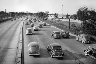 North Bound Lake Shore Drive in Chicago, Ca. 1946.-Kirn Vintage Stock-Photographic Print