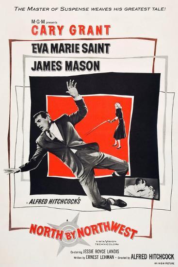 North by Northwest, Cary Grant, Eva Marie Saint on poster art, 1959--Art Print