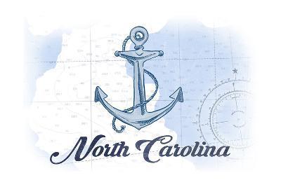 North Carolina - Anchor - Blue - Coastal Icon-Lantern Press-Art Print