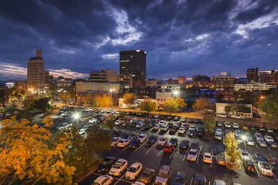 North Carolina, Asheville, Elevated View of Downtown, Dusk-Walter Bibikow-Photographic Print