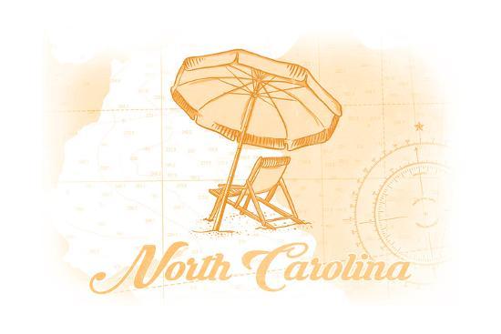 North Carolina - Beach Chair and Umbrella - Yellow - Coastal Icon-Lantern Press-Art Print