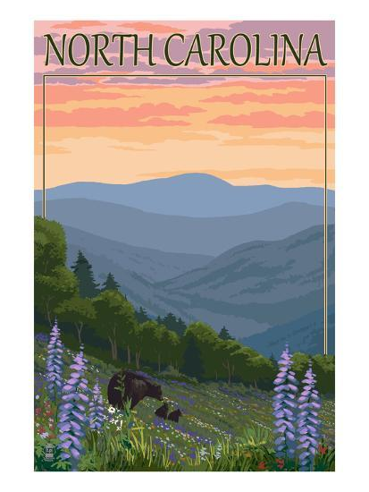 North Carolina - Bear and Cubs with Spring Flowers-Lantern Press-Art Print