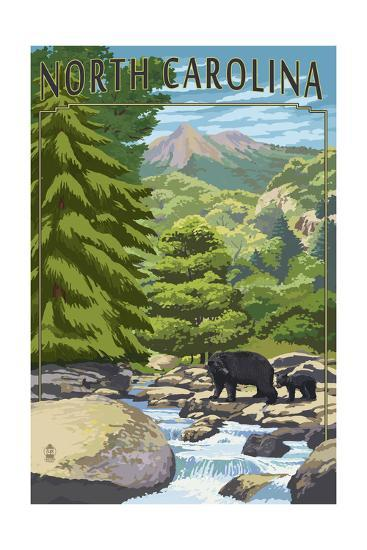 North Carolina - Bears and Creek-Lantern Press-Art Print