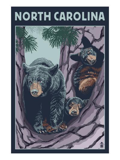 North Carolina - Bears in Tree-Lantern Press-Art Print