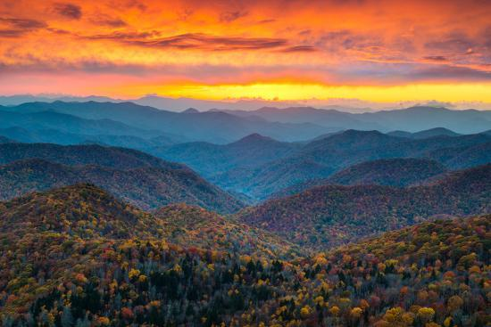 North Carolina Blue Ridge Parkway Mountains Sunset Scenic Landscape Near Asheville Nc During The A Photographic Print Dave Allen Photography Art Com