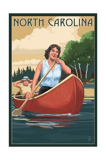 North Carolina - Canoers on Lake-Lantern Press-Art Print