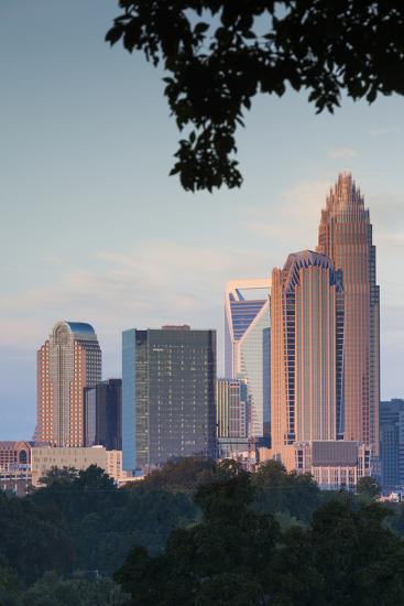 North Carolina, Charlotte, Elevated View of the City Skyline at Dusk-Walter Bibikow-Photographic Print