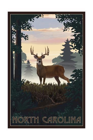 North Carolina - Deer and Sunrise-Lantern Press-Art Print