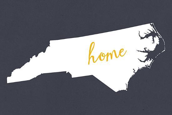 North Carolina - Home State - White on Gray-Lantern Press-Art Print