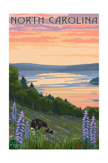 North Carolina - Lake and Bear Family-Lantern Press-Art Print
