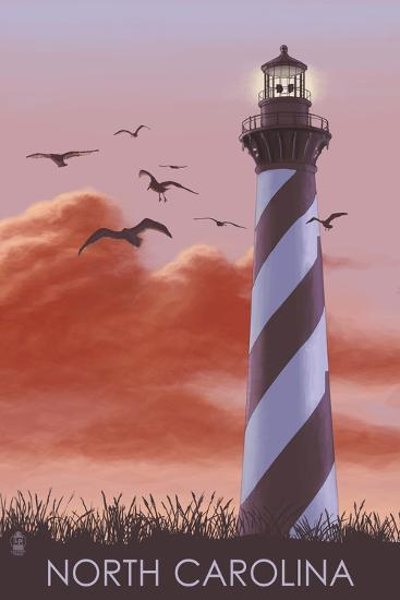 North Carolina - Lighthouse at Sunrise-Lantern Press-Art Print