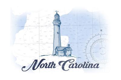 North Carolina - Lighthouse - Blue - Coastal Icon-Lantern Press-Art Print