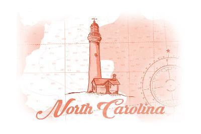 North Carolina - Lighthouse - Coral - Coastal Icon-Lantern Press-Art Print