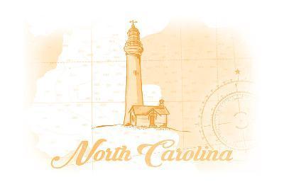 North Carolina - Lighthouse - Yellow - Coastal Icon-Lantern Press-Art Print