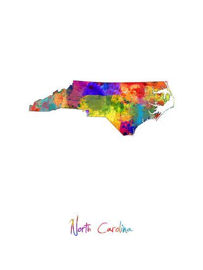 North Carolina Map-Michael Tompsett-Art Print