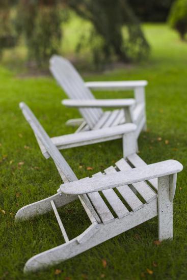 North Carolina, Outer Banks Seashore, Corolla, Adirondack Lawn Chairs-Walter Bibikow-Photographic Print