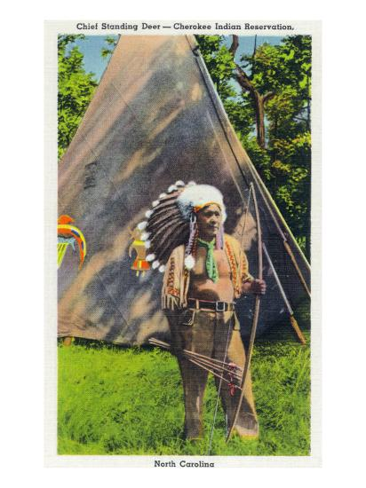 North Carolina - Qualla Cherokee Indian Reservation, View of Chief Standing Deer Posing, c.1936-Lantern Press-Art Print