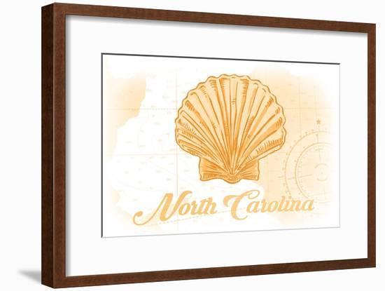 North Carolina - Scallop Shell - Yellow - Coastal Icon-Lantern Press-Framed Art Print