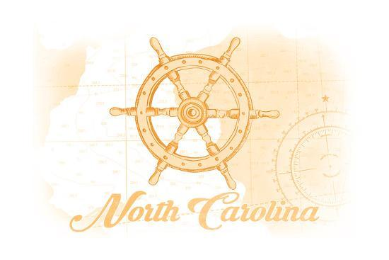 North Carolina - Ship Wheel - Yellow - Coastal Icon-Lantern Press-Art Print