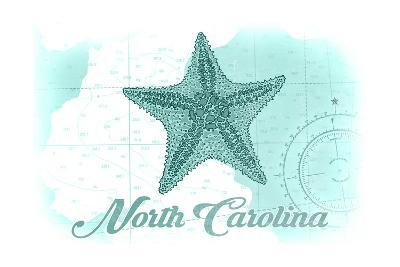 North Carolina - Starfish - Teal - Coastal Icon-Lantern Press-Art Print