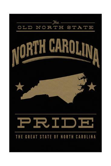 North Carolina State Pride - Gold on Black-Lantern Press-Art Print