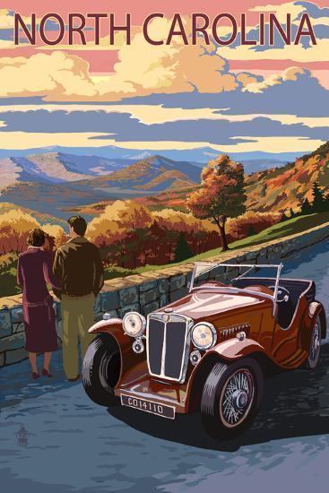 North Carolina - Sunset Mountain View-Lantern Press-Art Print