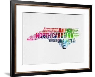 North Carolina Watercolor Word Cloud-NaxArt-Framed Art Print