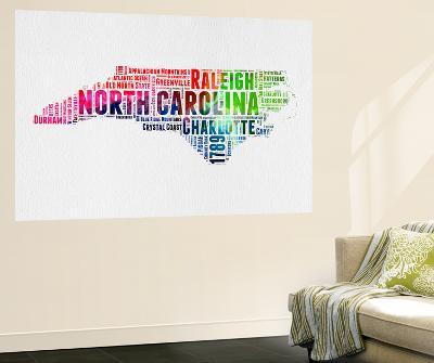 North Carolina Watercolor Word Cloud-NaxArt-Wall Mural