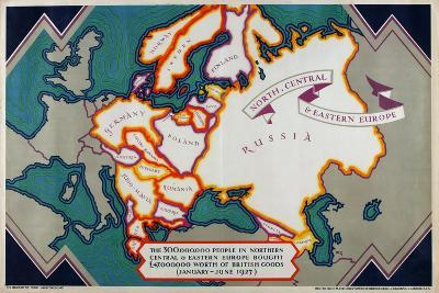 North, Central and Eastern Europe, from the Series 'Where Our Exports Go', 1927-William Grimmond-Giclee Print