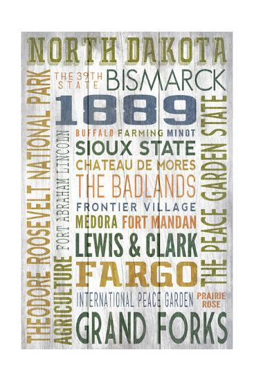 North Dakota - Barnwood Typography-Lantern Press-Art Print