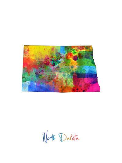 North Dakota Map-Michael Tompsett-Art Print