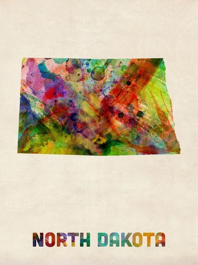 North Dakota Watercolor Map-Michael Tompsett-Art Print