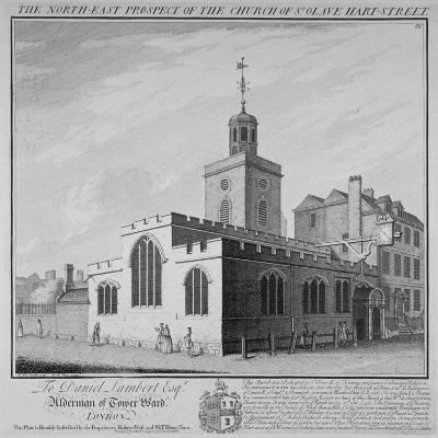 North-East Prospect of the Church of St Olave, Hart Street, City of London, 1736-William Henry Toms-Giclee Print